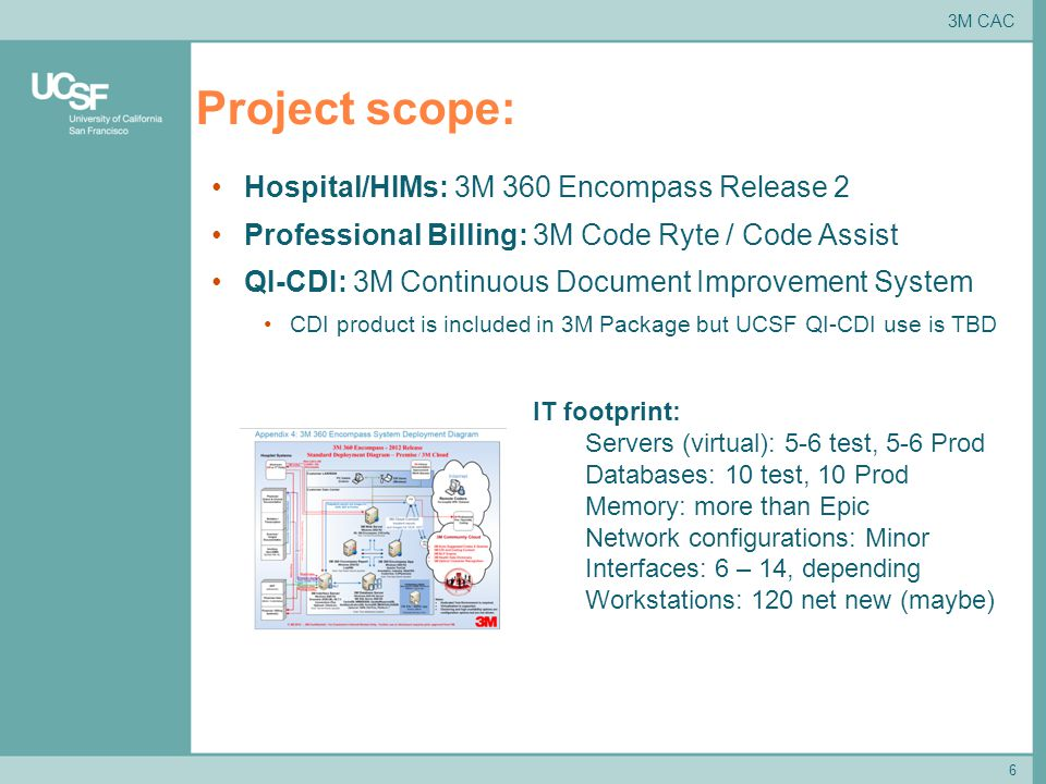 6 Project scope: 3M CAC Hospital/HIMs: 3M 360 Encompass Release 2 Professional Billing: 3M Code Ryte / Code Assist QI-CDI: 3M Continuous Document Improvement System CDI product is included in 3M Package but UCSF QI-CDI use is TBD IT footprint: Servers (virtual): 5-6 test, 5-6 Prod Databases: 10 test, 10 Prod Memory: more than Epic Network configurations: Minor Interfaces: 6 – 14, depending Workstations: 120 net new (maybe)