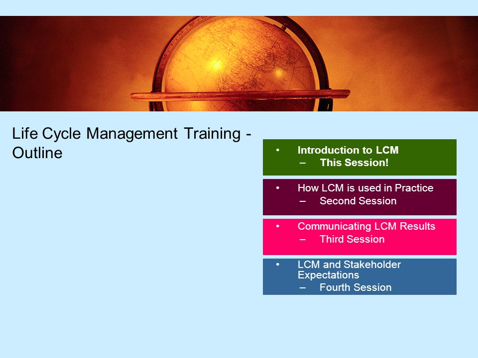 2 Life Cycle Management Training - Outline Introduction to LCM –This Session.