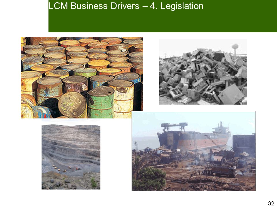 32 LCM Business Drivers – 4. Legislation