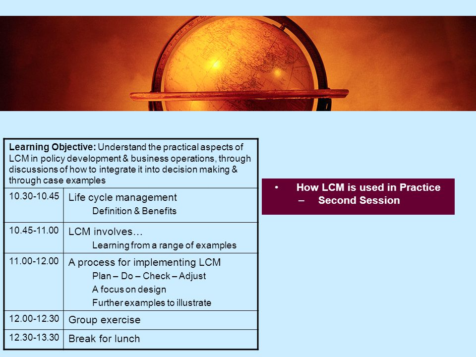 15 Where does LCM apply in the organisation.