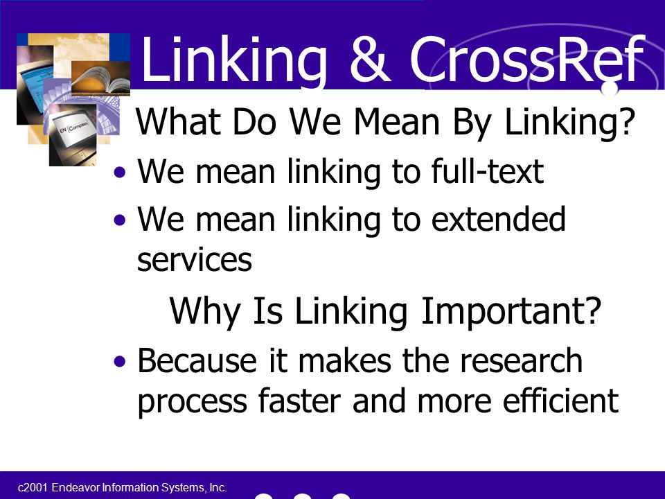 c2001 Endeavor Information Systems, Inc. What Do We Mean By Linking.