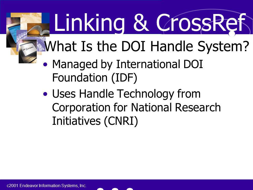 c2001 Endeavor Information Systems, Inc. What Is the DOI Handle System.