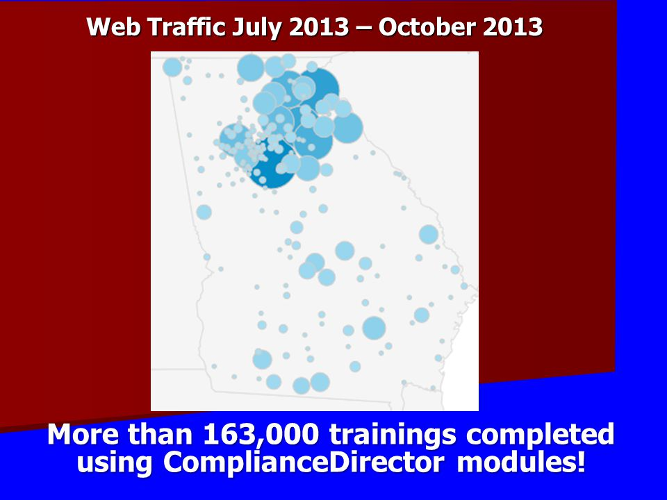 Web Traffic July 2013 – October 2013 More than 163,000 trainings completed using ComplianceDirector modules!