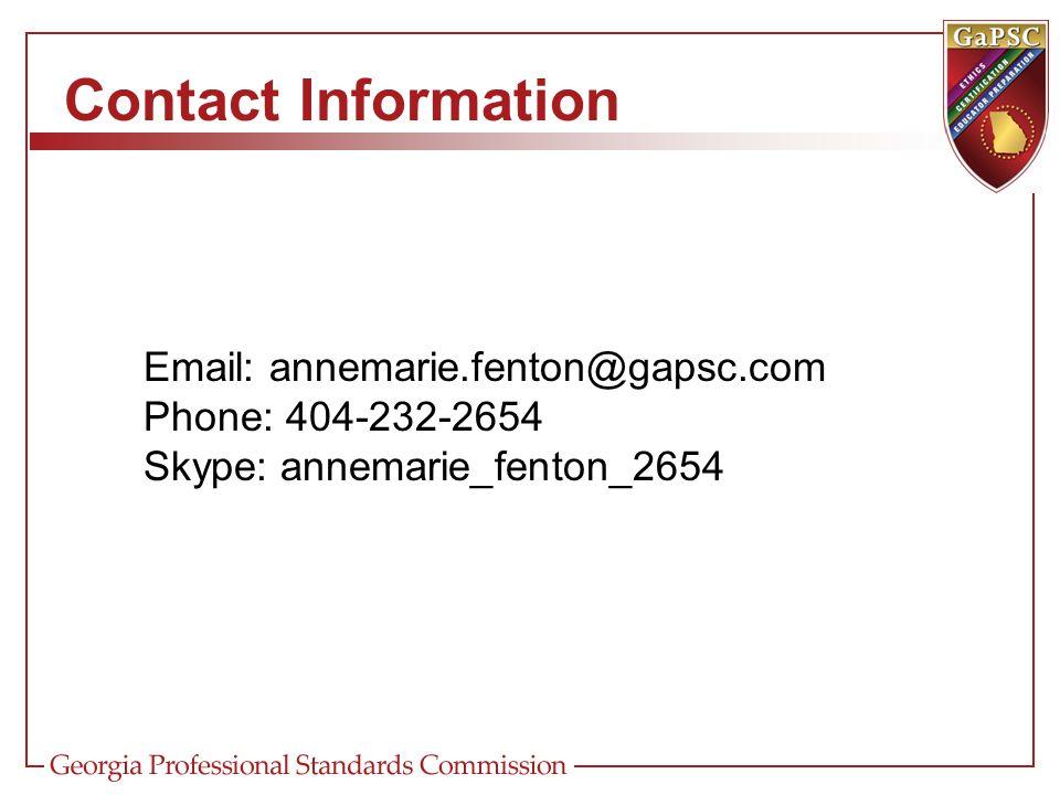 Contact Information Email: annemarie.fenton@gapsc.com Phone: 404-232-2654 Skype: annemarie_fenton_2654