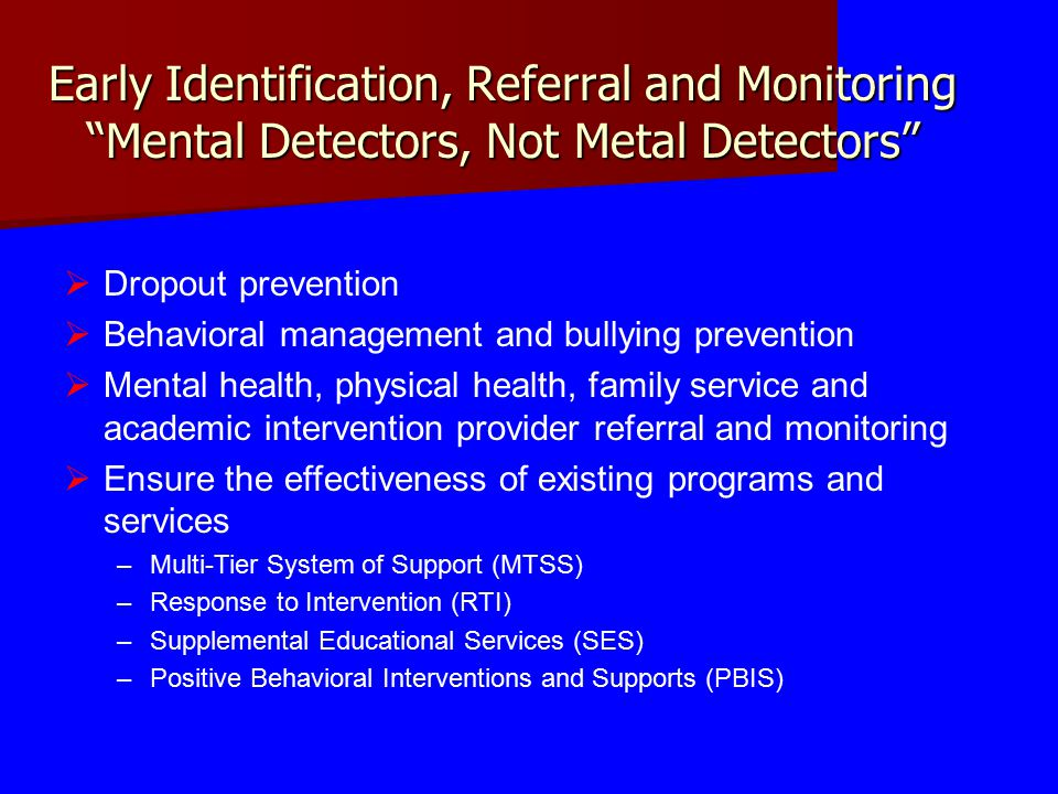 Early Identification, Referral and Monitoring Mental Detectors, Not Metal Detectors  Dropout prevention  Behavioral management and bullying prevention  Mental health, physical health, family service and academic intervention provider referral and monitoring  Ensure the effectiveness of existing programs and services –Multi-Tier System of Support (MTSS) –Response to Intervention (RTI) –Supplemental Educational Services (SES) –Positive Behavioral Interventions and Supports (PBIS)