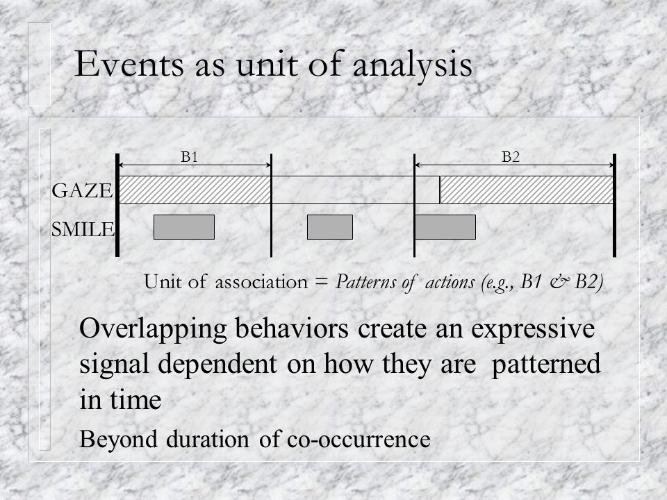 Events as unit of analysis Unit of association = Patterns of actions (e.g., B1 & B2) B1B2 SMILE GAZE Overlapping behaviors create an expressive signal dependent on how they are patterned in time Beyond duration of co-occurrence