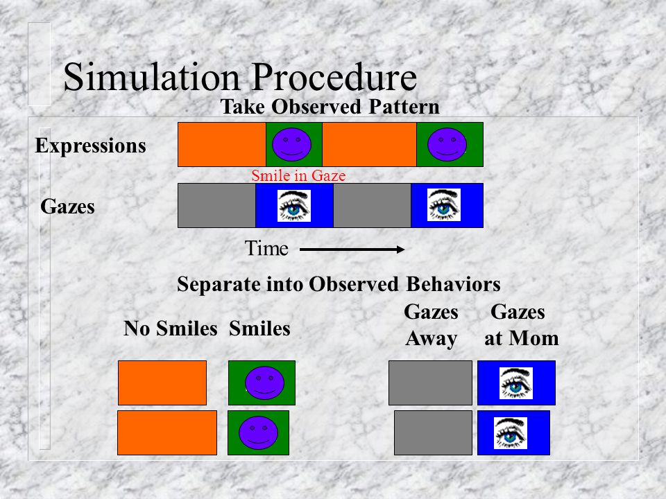 Expressions Gazes SM Take Observed Pattern SM No Smiles Gazes Away Gazes at Mom Smiles SM Separate into Observed Behaviors Time Smile in Gaze Simulation Procedure
