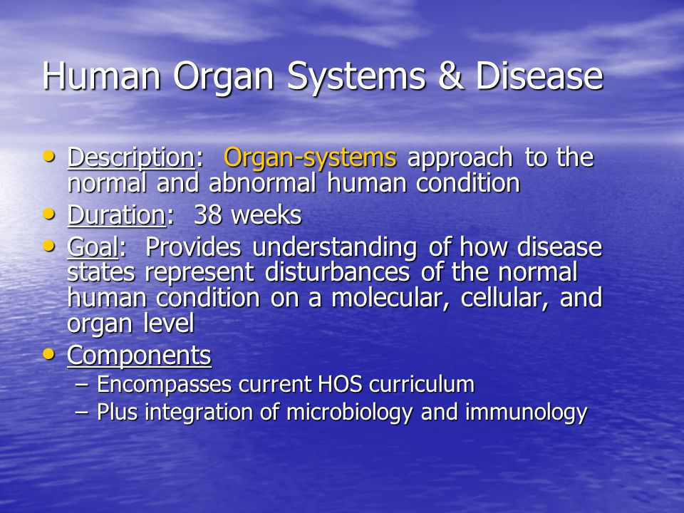 Human Organ Systems & Disease Description: Organ-systems approach to the normal and abnormal human condition Description: Organ-systems approach to the normal and abnormal human condition Duration: 38 weeks Duration: 38 weeks Goal: Provides understanding of how disease states represent disturbances of the normal human condition on a molecular, cellular, and organ level Goal: Provides understanding of how disease states represent disturbances of the normal human condition on a molecular, cellular, and organ level Components Components –Encompasses current HOS curriculum –Plus integration of microbiology and immunology