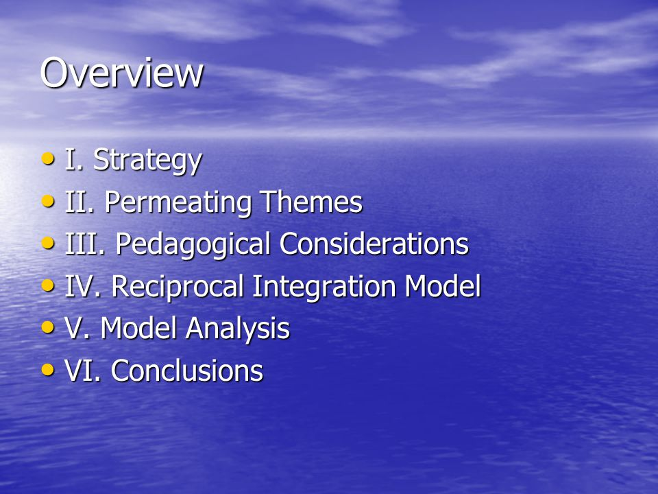 Charge Provide flexibility to accommodate new knowledge Provide flexibility to accommodate new knowledge – Core-dynamic concept- intersessions –Clinical experience blocks –Attention to pedagogy –Curriculum Oversight Committee –Increased and earlier elective time Improve of basic, clinical, social sciences Improve integration of basic, clinical, social sciences Address patient & societal needs Address patient & societal needs Provide clinical experience Provide earlier clinical experience Encompass competencies Encompass competencies Promote learning Promote student-centered learning Maximize use of educational & informational technologies Maximize use of educational & informational technologies Enable individualized progress Enable individualized progress