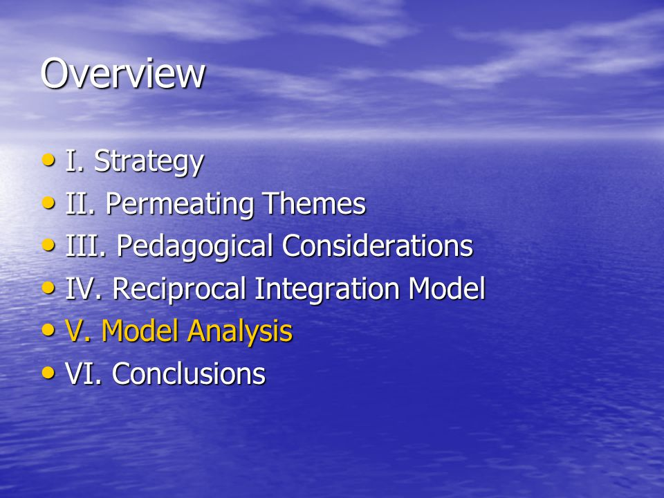 Overview I. Strategy I. Strategy II. Permeating Themes II.