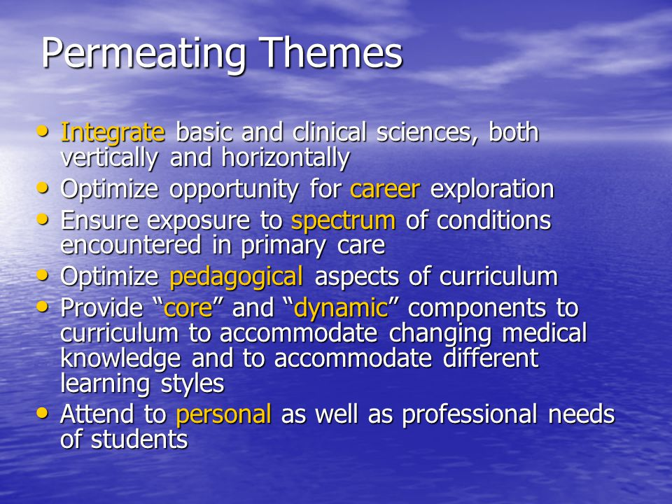 Permeating Themes Integrate basic and clinical sciences, both vertically and horizontally Integrate basic and clinical sciences, both vertically and horizontally Optimize opportunity for career exploration Optimize opportunity for career exploration Ensure exposure to spectrum of conditions encountered in primary care Ensure exposure to spectrum of conditions encountered in primary care Optimize pedagogical aspects of curriculum Optimize pedagogical aspects of curriculum Provide core and dynamic components to curriculum to accommodate changing medical knowledge and to accommodate different learning styles Provide core and dynamic components to curriculum to accommodate changing medical knowledge and to accommodate different learning styles Attend to personal as well as professional needs of students Attend to personal as well as professional needs of students