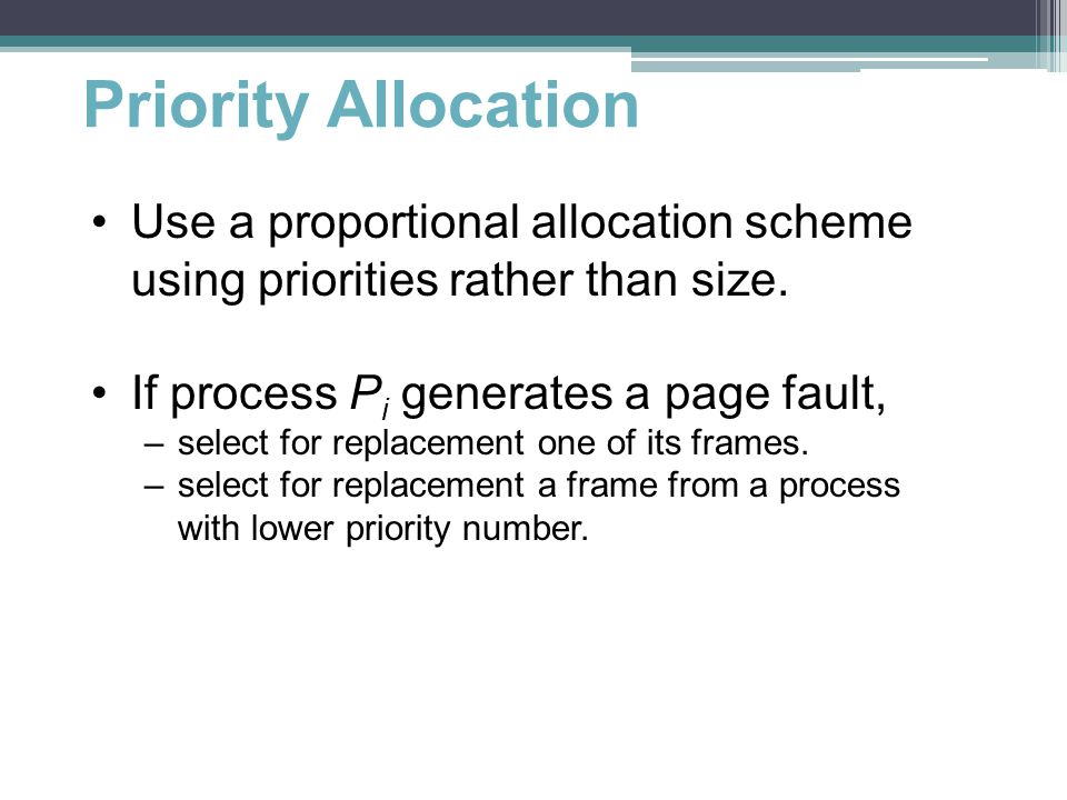 Priority Allocation Use a proportional allocation scheme using priorities rather than size.