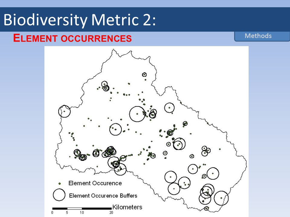 E LEMENT OCCURRENCES Methods Biodiversity Metric 2: