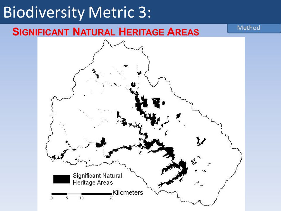 S IGNIFICANT N ATURAL H ERITAGE A REAS Method Biodiversity Metric 3: