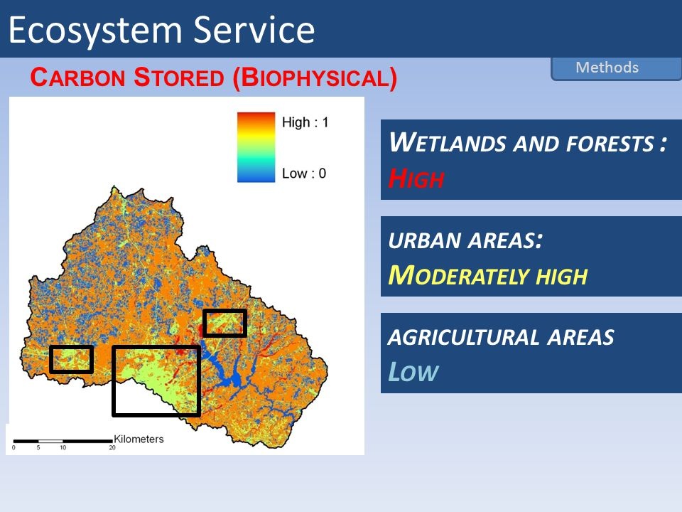 URBAN AREAS : M ODERATELY HIGH AGRICULTURAL AREAS L OW W ETLANDS AND FORESTS : H IGH C ARBON S TORED (B IOPHYSICAL ) Methods Ecosystem Service