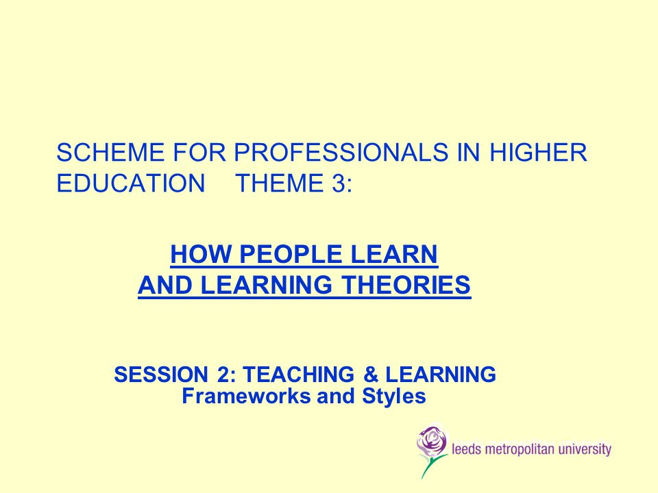 SCHEME FOR PROFESSIONALS IN HIGHER EDUCATION THEME 3: HOW PEOPLE LEARN AND LEARNING THEORIES SESSION 2: TEACHING & LEARNING Frameworks and Styles