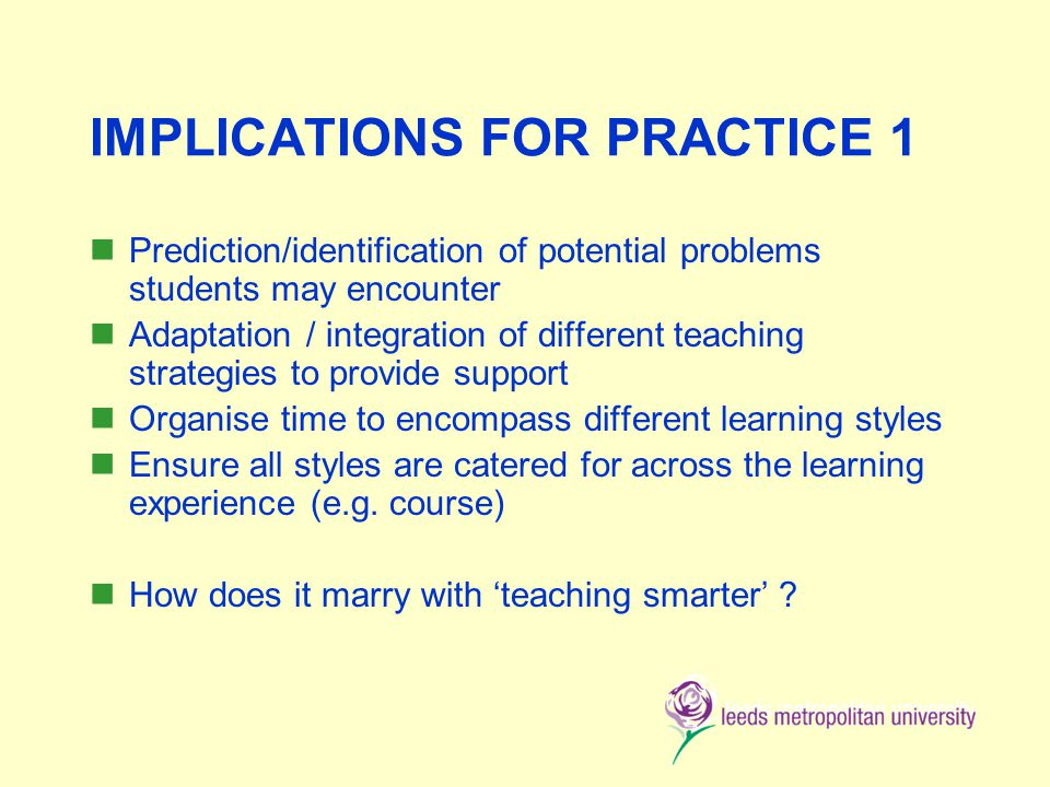 IMPLICATIONS FOR PRACTICE 1 Prediction/identification of potential problems students may encounter Adaptation / integration of different teaching strategies to provide support Organise time to encompass different learning styles Ensure all styles are catered for across the learning experience (e.g.
