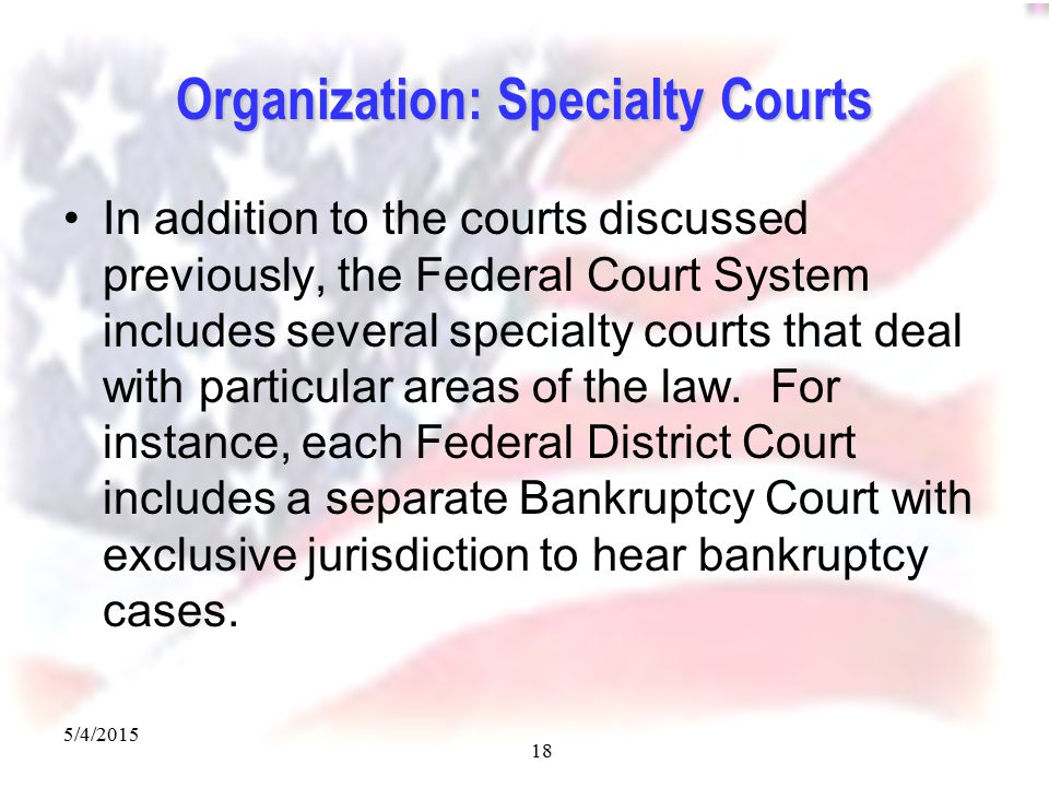 5/4/2015 18 Organization: Specialty Courts In addition to the courts discussed previously, the Federal Court System includes several specialty courts that deal with particular areas of the law.