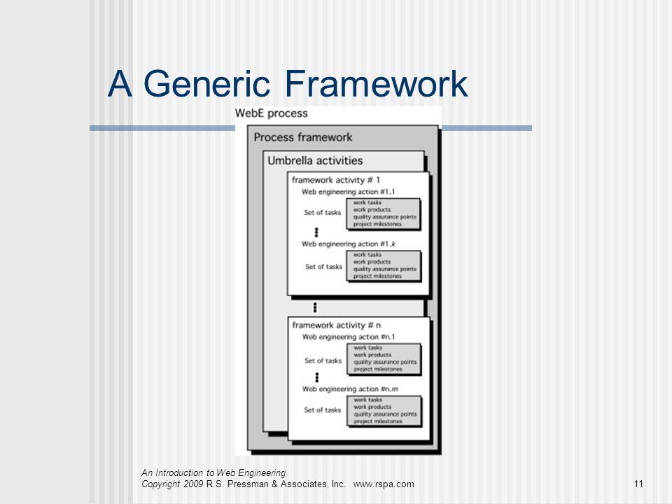 An Introduction to Web Engineering Copyright 2009 R.S. Pressman & Associates, Inc. www.rspa.com11 A Generic Framework