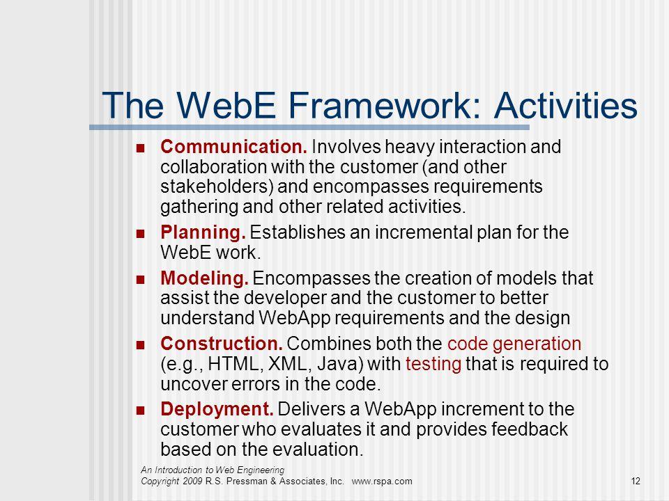 An Introduction to Web Engineering Copyright 2009 R.S. Pressman & Associates, Inc. www.rspa.com12 The WebE Framework: Activities Communication. Involv