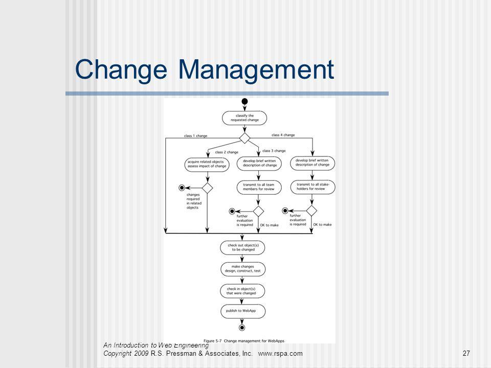 An Introduction to Web Engineering Copyright 2009 R.S. Pressman & Associates, Inc. www.rspa.com27 Change Management