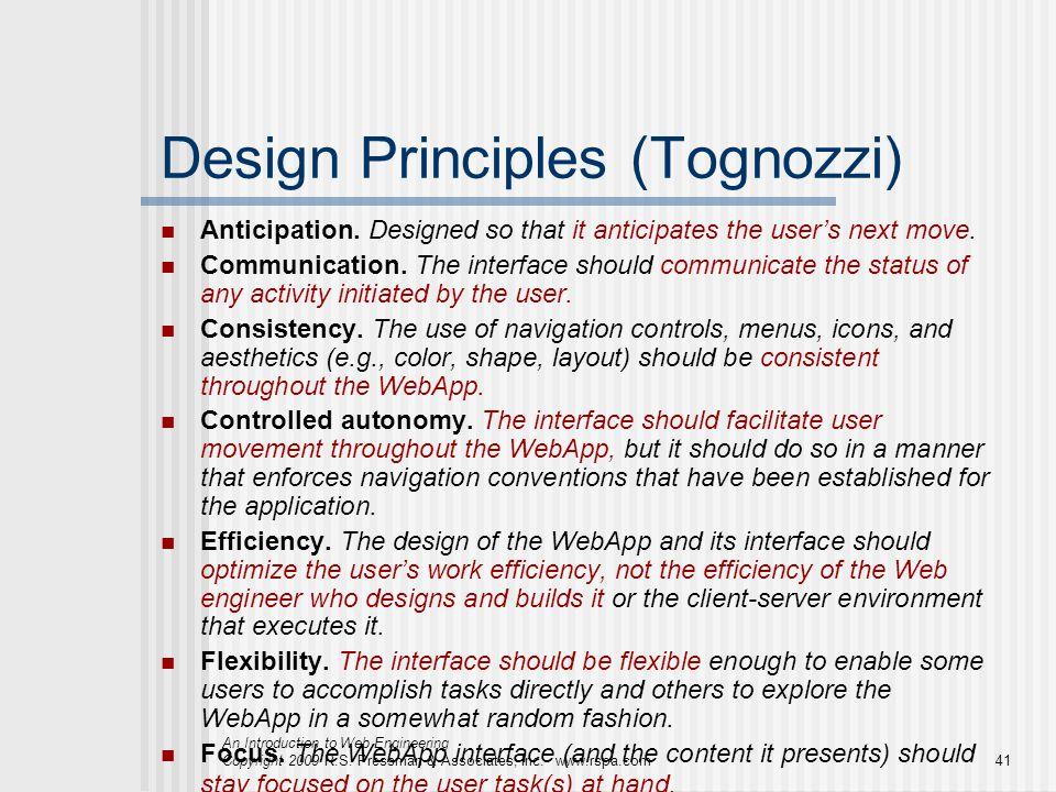 An Introduction to Web Engineering Copyright 2009 R.S. Pressman & Associates, Inc. www.rspa.com41 Design Principles (Tognozzi) Anticipation. Designed