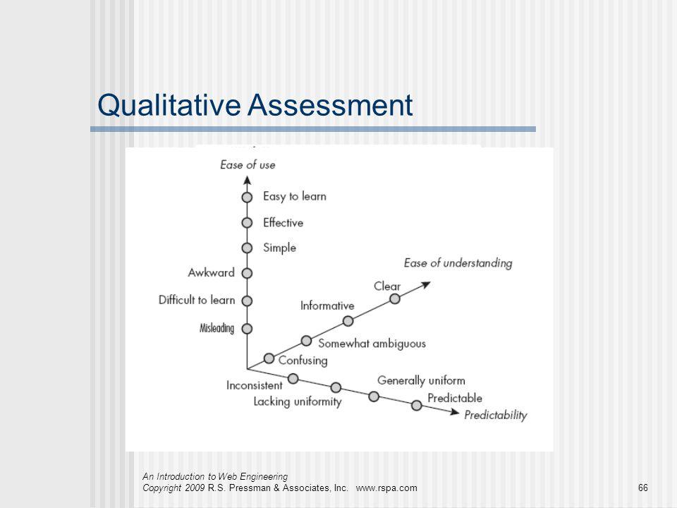 An Introduction to Web Engineering Copyright 2009 R.S. Pressman & Associates, Inc. www.rspa.com66 Qualitative Assessment