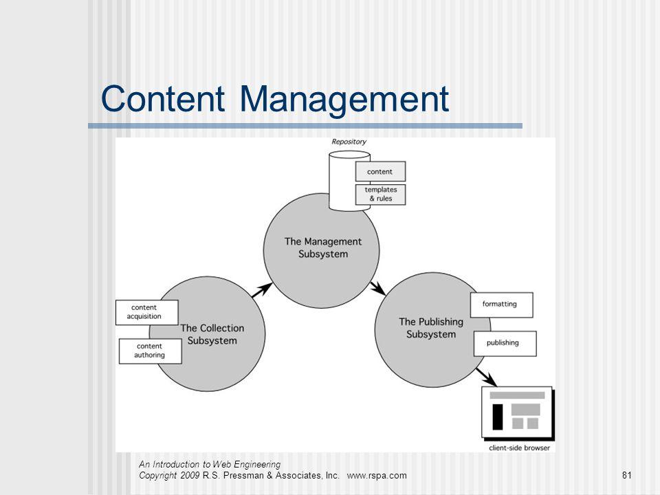 An Introduction to Web Engineering Copyright 2009 R.S. Pressman & Associates, Inc. www.rspa.com81 Content Management