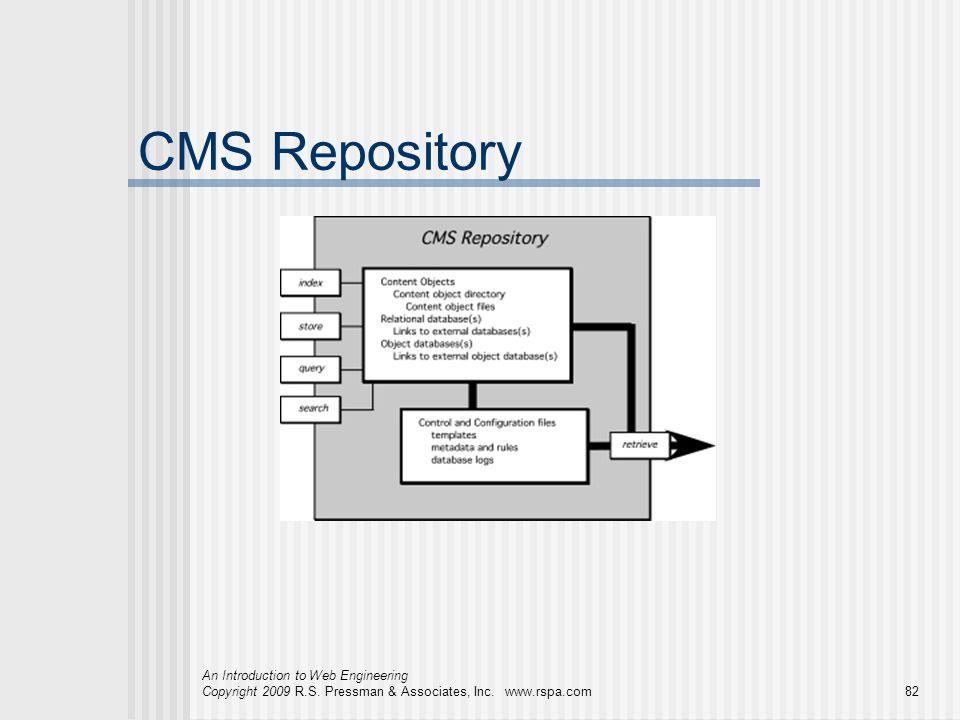 An Introduction to Web Engineering Copyright 2009 R.S. Pressman & Associates, Inc. www.rspa.com82 CMS Repository