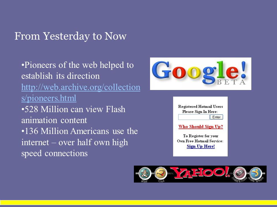 From Yesterday to Now Pioneers of the web helped to establish its direction http://web.archive.org/collection s/pioneers.html 528 Million can view Flash animation content 136 Million Americans use the internet – over half own high speed connections