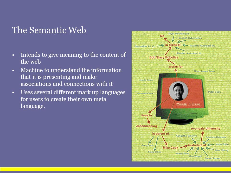 The Semantic Web Intends to give meaning to the content of the web Machine to understand the information that it is presenting and make associations a