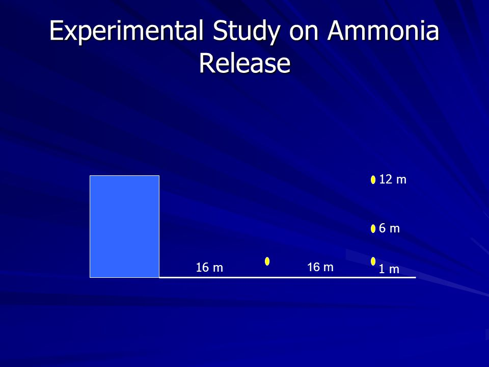 Experimental Study on Ammonia Release 16 m 1 m 6 m 12 m