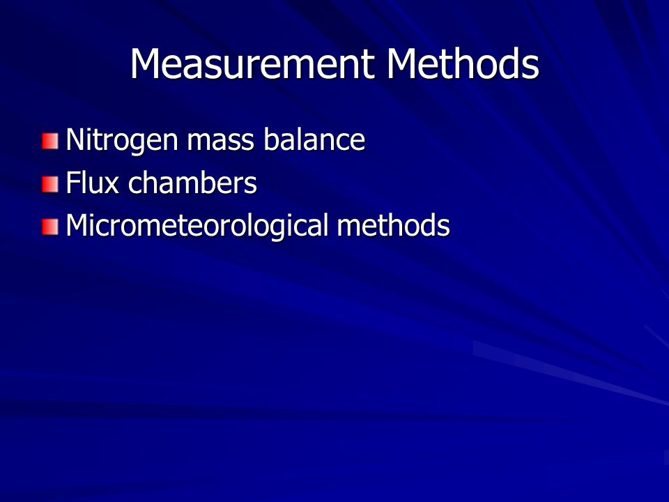 Measurement Methods Nitrogen mass balance Flux chambers Micrometeorological methods