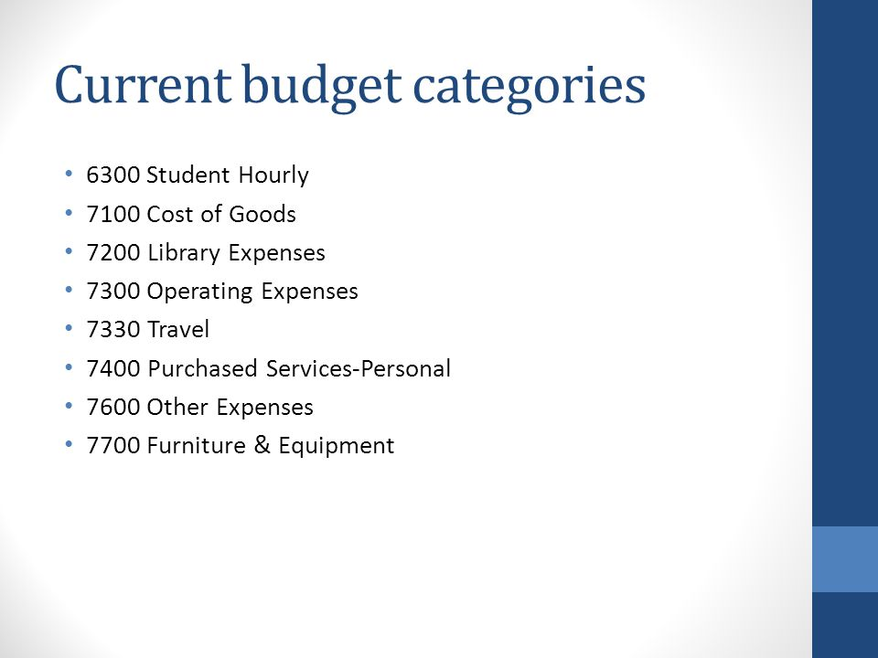New budget category Total operating budgets will now be reported in budget category 7300 Operating budgets will encompass all accounts starting with a 73,74,76, or 77 (everything currently under operating, travel, purchased services, other expenses, and furniture and equipment) One budget encompassing all categories means no more budget transfers between categories.