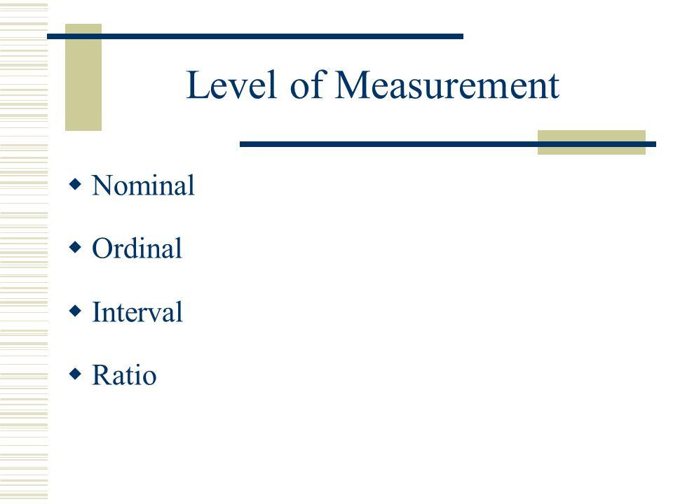 Level of Measurement  Nominal  Ordinal  Interval  Ratio