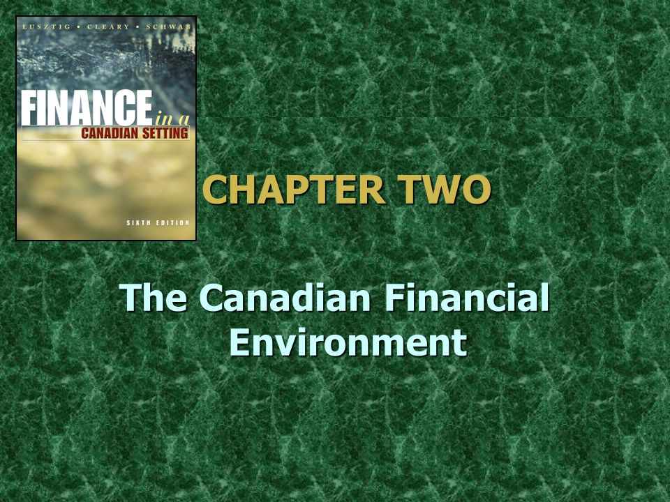CHAPTER TWO CHAPTER TWO The Canadian Financial Environment