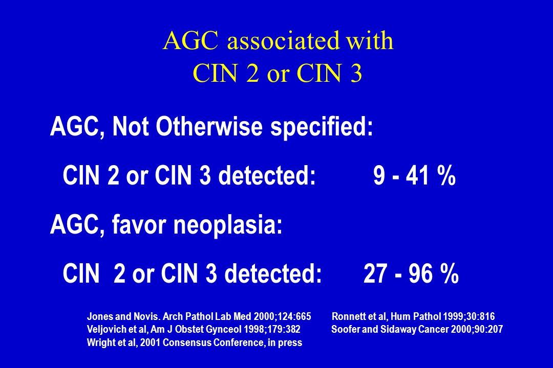 AGC associated with CIN 2 or CIN 3 AGC, Not Otherwise specified: CIN 2 or CIN 3 detected: 9 - 41 % AGC, favor neoplasia: CIN 2 or CIN 3 detected: 27 -