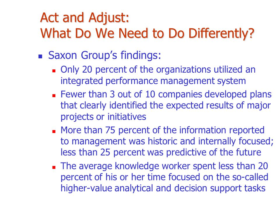 Saxon Group's findings: Only 20 percent of the organizations utilized an integrated performance management system Fewer than 3 out of 10 companies dev