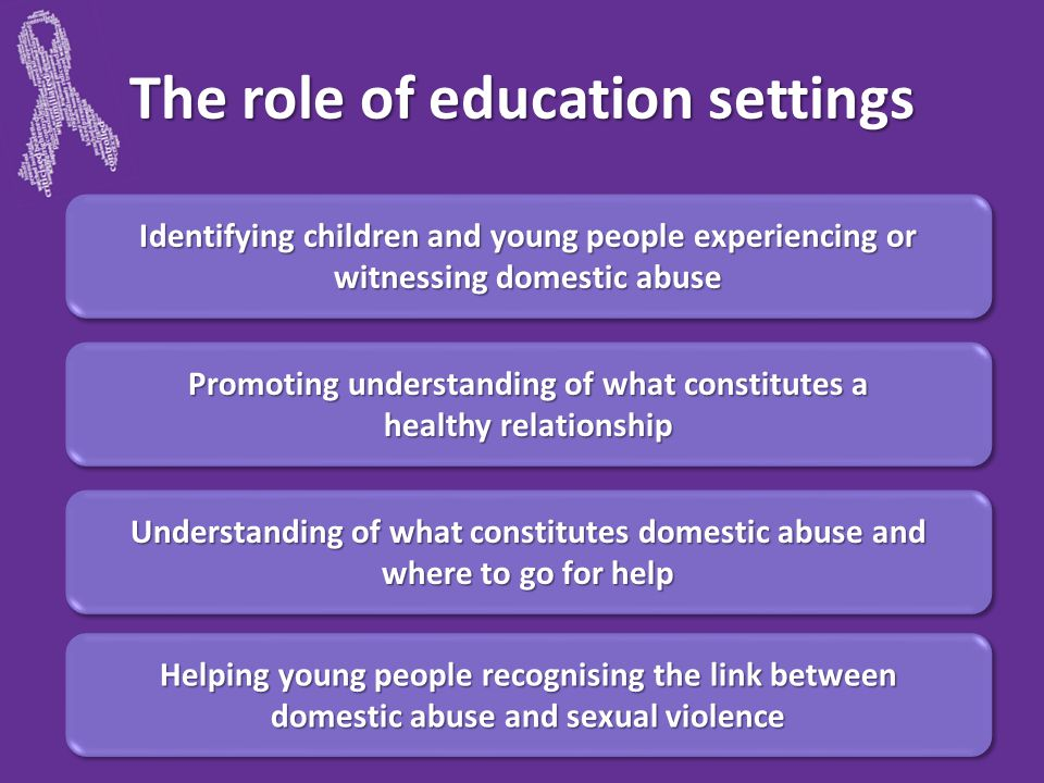 The role of education settings Identifying children and young people experiencing or witnessing domestic abuse Promoting understanding of what constitutes a healthy relationship Promoting understanding of what constitutes a healthy relationship Understanding of what constitutes domestic abuse and where to go for help Helping young people recognising the link between domestic abuse and sexual violence Helping young people recognising the link between domestic abuse and sexual violence