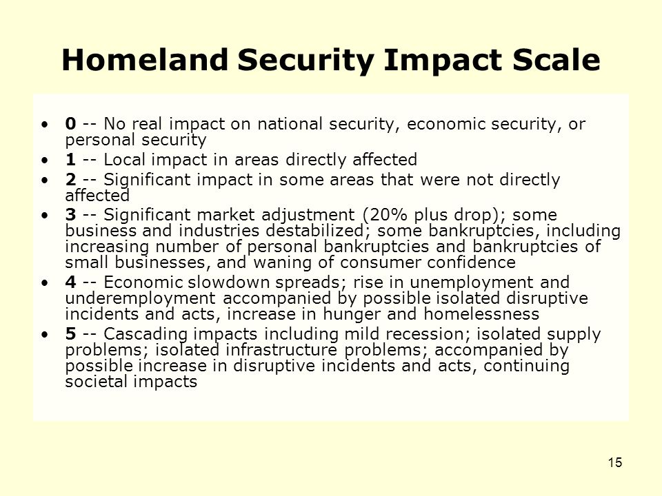 Homeland Security Impact Scale 0 -- No real impact on national security, economic security, or personal security 1 -- Local impact in areas directly affected 2 -- Significant impact in some areas that were not directly affected 3 -- Significant market adjustment (20% plus drop); some business and industries destabilized; some bankruptcies, including increasing number of personal bankruptcies and bankruptcies of small businesses, and waning of consumer confidence 4 -- Economic slowdown spreads; rise in unemployment and underemployment accompanied by possible isolated disruptive incidents and acts, increase in hunger and homelessness 5 -- Cascading impacts including mild recession; isolated supply problems; isolated infrastructure problems; accompanied by possible increase in disruptive incidents and acts, continuing societal impacts 15