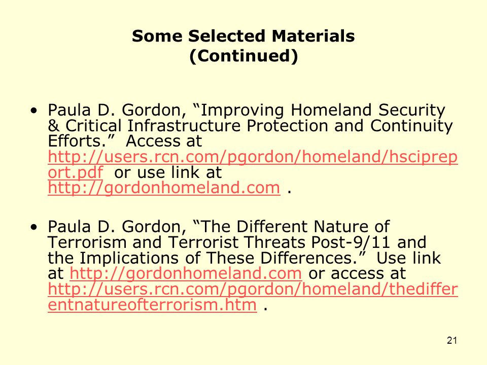 Some Selected Materials (Continued) Paula D.