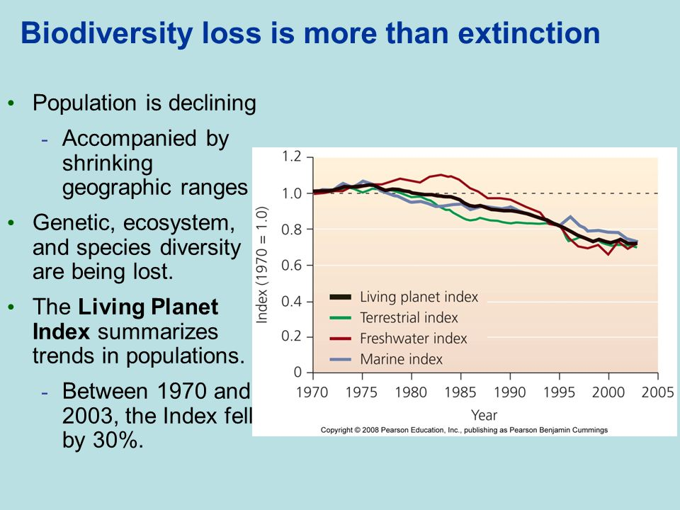 Biodiversity loss is more than extinction Population is declining - Accompanied by shrinking geographic ranges Genetic, ecosystem, and species diversi