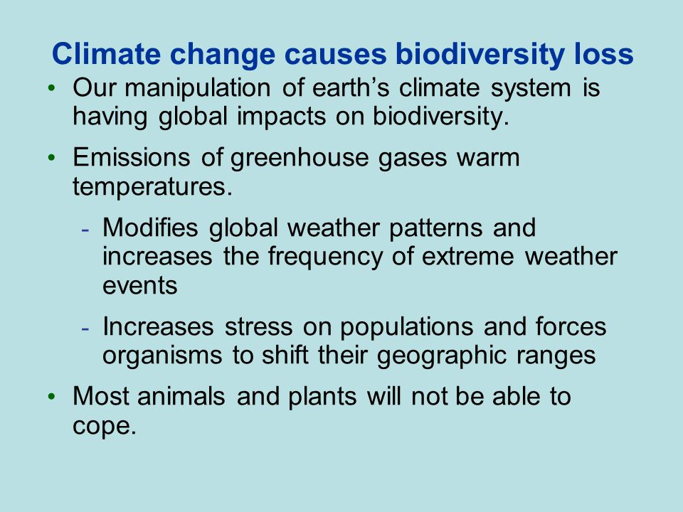 Climate change causes biodiversity loss Our manipulation of earth's climate system is having global impacts on biodiversity. Emissions of greenhouse g