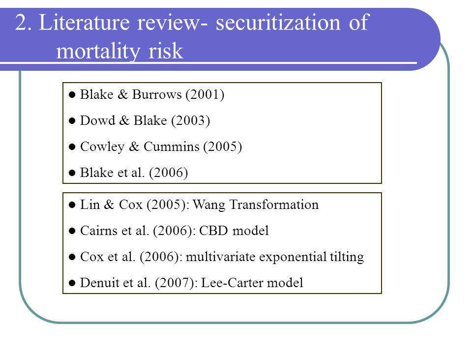2. Literature review- securitization of mortality risk Blake & Burrows (2001) Dowd & Blake (2003) Cowley & Cummins (2005) Blake et al. (2006) Lin & Co