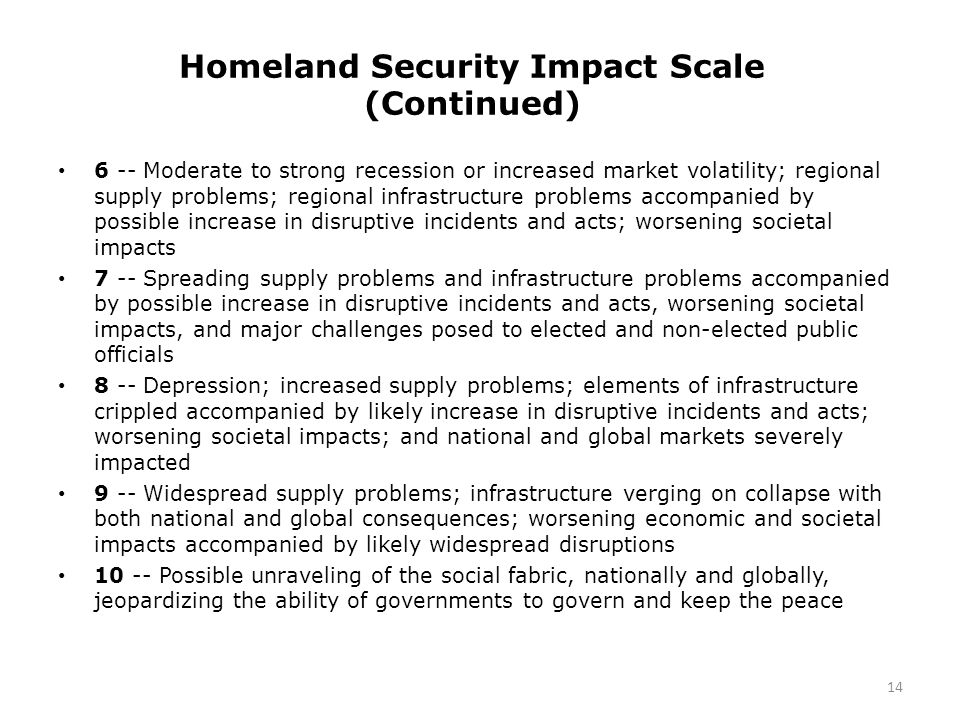 Homeland Security Impact Scale (Continued) 6 -- Moderate to strong recession or increased market volatility; regional supply problems; regional infrastructure problems accompanied by possible increase in disruptive incidents and acts; worsening societal impacts 7 -- Spreading supply problems and infrastructure problems accompanied by possible increase in disruptive incidents and acts, worsening societal impacts, and major challenges posed to elected and non-elected public officials 8 -- Depression; increased supply problems; elements of infrastructure crippled accompanied by likely increase in disruptive incidents and acts; worsening societal impacts; and national and global markets severely impacted 9 -- Widespread supply problems; infrastructure verging on collapse with both national and global consequences; worsening economic and societal impacts accompanied by likely widespread disruptions 10 -- Possible unraveling of the social fabric, nationally and globally, jeopardizing the ability of governments to govern and keep the peace 14