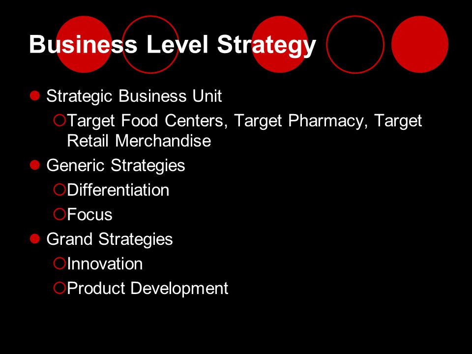 Business Level Strategy Strategic Business Unit  Target Food Centers, Target Pharmacy, Target Retail Merchandise Generic Strategies  Differentiation