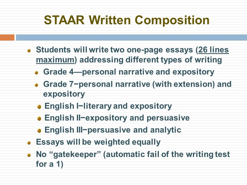 STAAR Written Composition Students will write two one-page essays (26 lines maximum) addressing different types of writing Grade 4—personal narrative and expository Grade 7−personal narrative (with extension) and expository English I−literary and expository English II−expository and persuasive English III−persuasive and analytic Essays will be weighted equally No gatekeeper (automatic fail of the writing test for a 1)