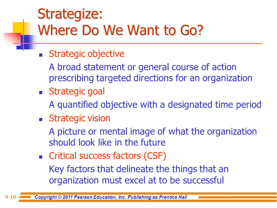 Copyright © 2011 Pearson Education, Inc. Publishing as Prentice Hall 9-10 Strategize: Where Do We Want to Go? Strategic objective A broad statement or