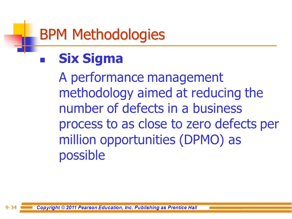 Copyright © 2011 Pearson Education, Inc. Publishing as Prentice Hall 9-34 Six Sigma A performance management methodology aimed at reducing the number