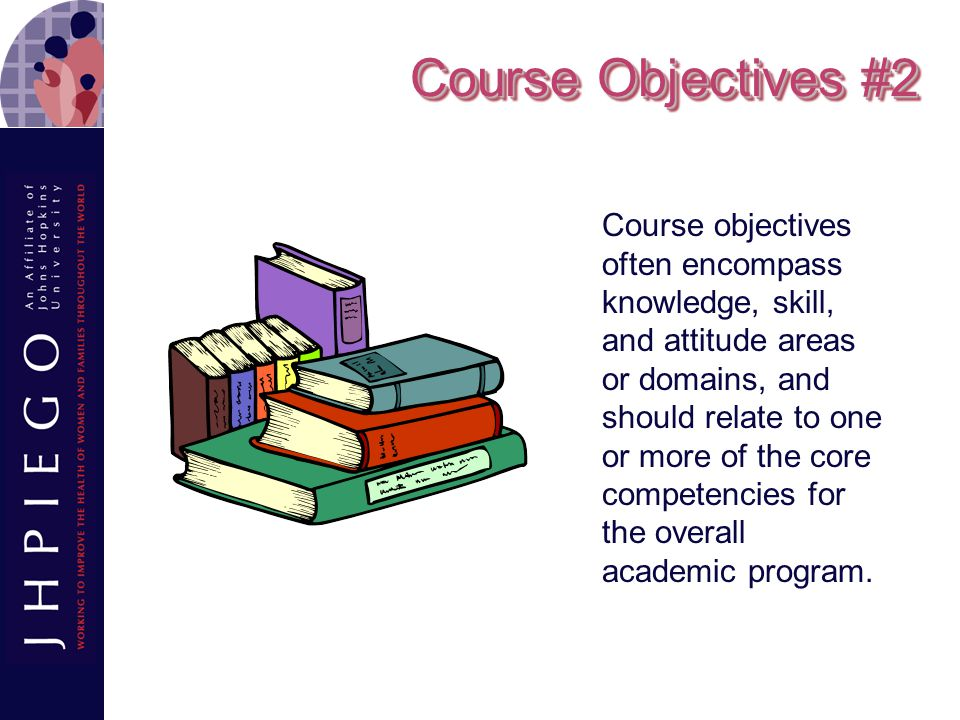 Supporting Objectives An objective (also known as a secondary, specific, instructional, or enabling objective) that supports the main objective by describing the specific knowledge, skills, and attitudes that students must master to achieve the main objective.
